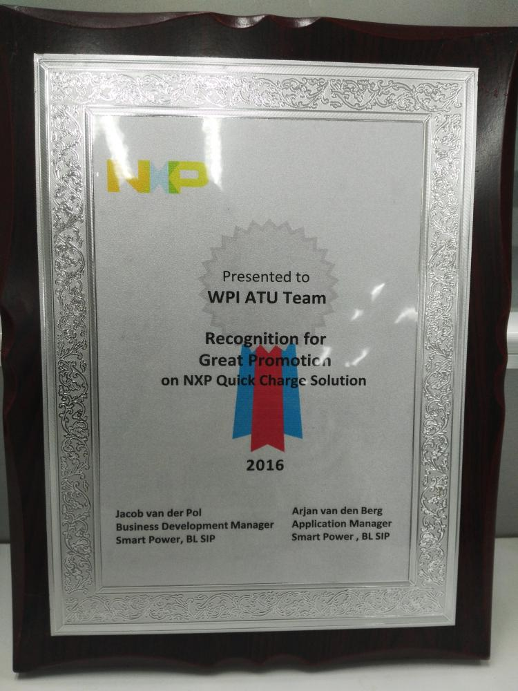 Recognition for Great Promotion on NXP Quick Charge Solucion 2016