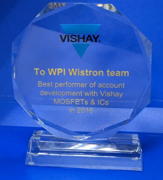 Best performer of account development with Vishay MOSFETs & Ics in 2016_WISTRON