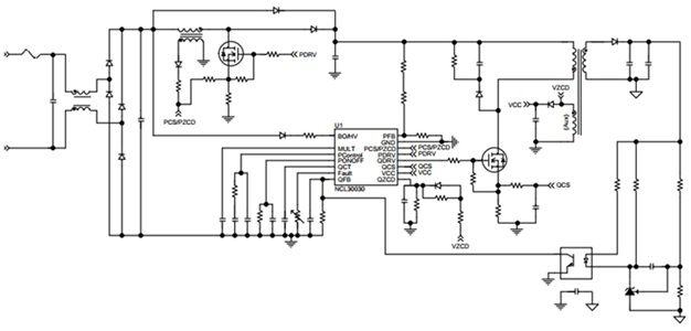 NCL30030 用於LED照明的PFC及准諧振反激組合控制器