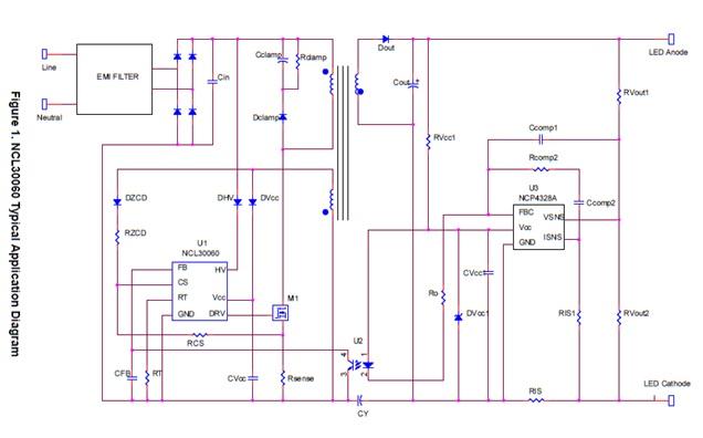 NCL30060 高功率因子脱机单段LED驱动器,支持高压启动