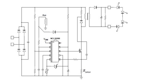 NCL30086 類比/數位調光功率因數校正准諧振初級端電流模式控制器,用於LED照明