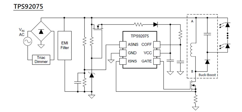 TPS92075 Non-Isolated, Phase Dimmable, Buck PFC LED Driver with Digital Reference Control