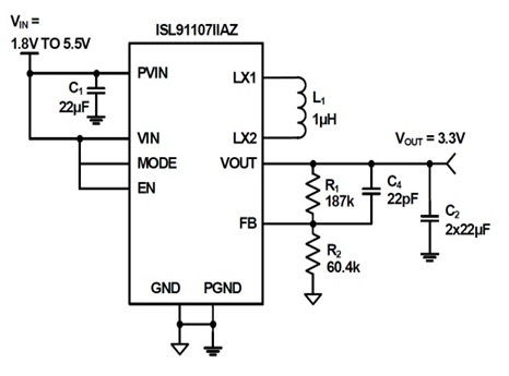 ISL91107 Highly-integrated buck-boost switching regulators