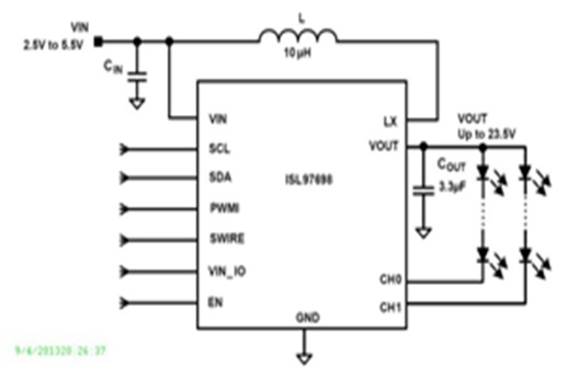 ISL97698  2-channel white LED driver with a sync boost converter and two low-side current sinks capable of driving an output voltage up to 23.5V.