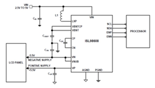 ISL98608/07 high efficiency power supplies for small size displays