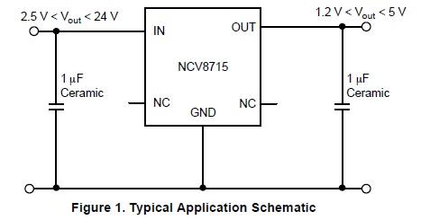NCV8715 高穩定性的線性低壓降穩壓器(LDO)