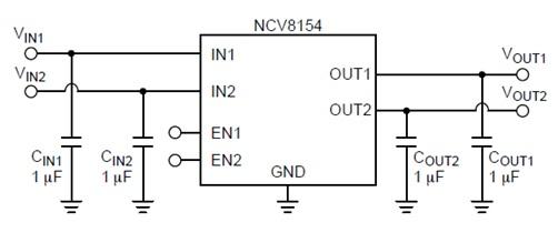 NCV8154 低靜態電流、雙輸入低壓降穩壓器(LDO)