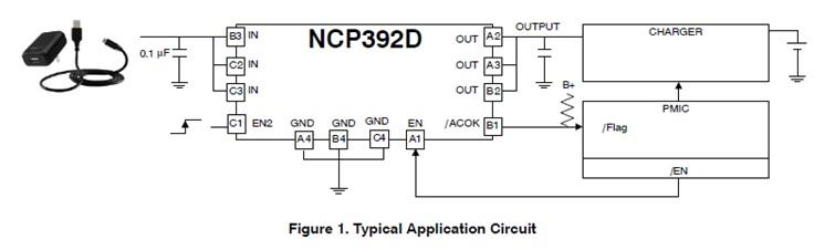NCP392D 可调节的前端过压保护控制器