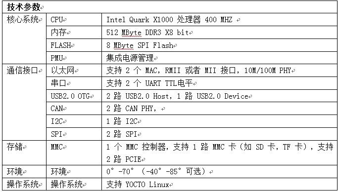 WPIg_Intel_Quark X1000 -parameter_20140319