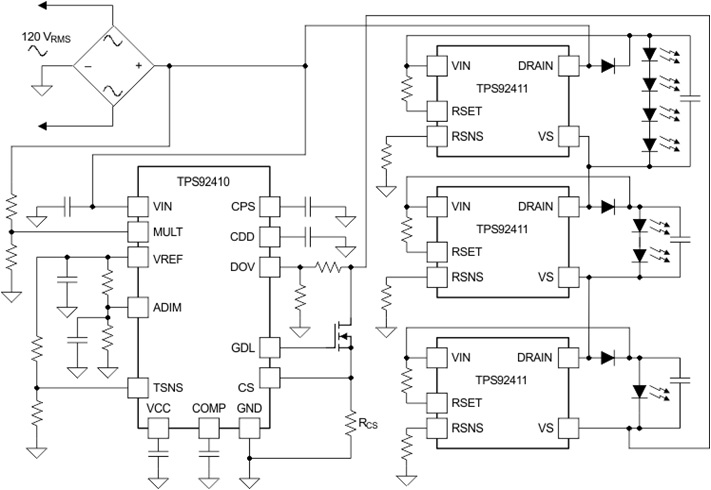 TPS92410 Switch-Controlled, Direct Drive, Linear Controller for Offline LED Drivers