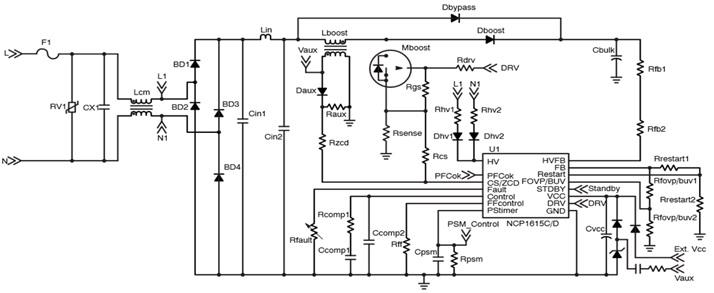 NCP1615 帶X2電容放電功能的高壓PFC控制器