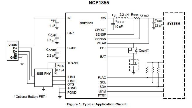 高達15.5 V工作輸入電壓的開關電池充電器 NCP1855