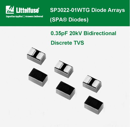 LITTELFUSE - SP3022 Series Diode Arrays , 0.35pF 20kV Bidirectional Discrete TVS