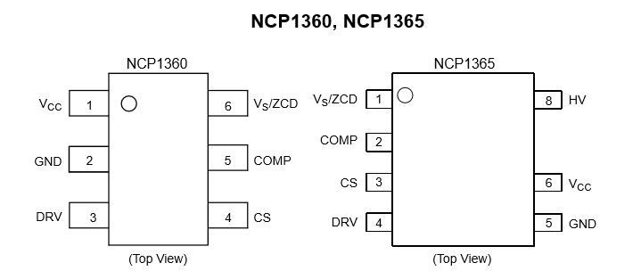 低功率離線恒流穩壓初級端脈寬調製電流模式控制器,帶高壓啟動電流源 NCP1360/5