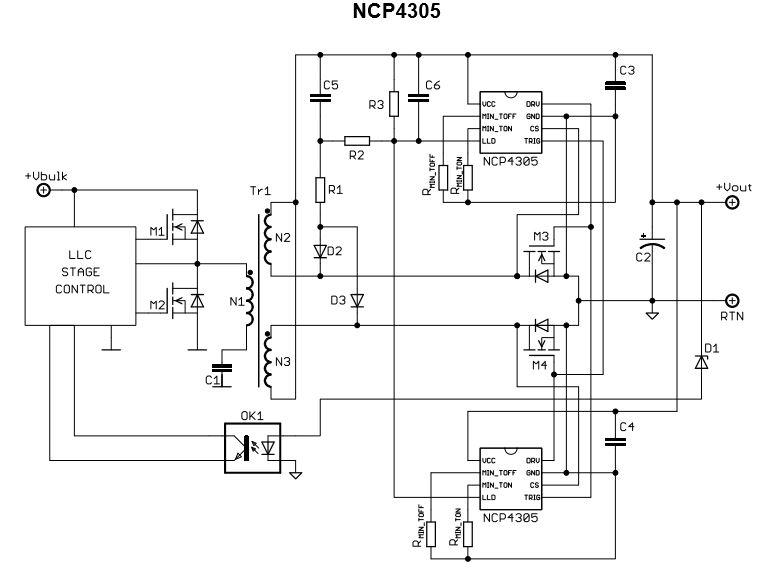 次级端同步整流驱动器, 用于高能效交换式电源供应器(SMPS) NCP4305