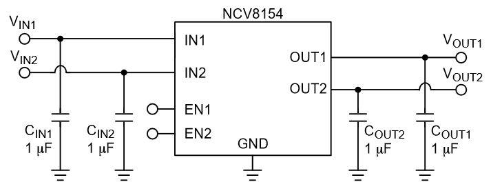 低静态电流、双输入低压降稳压器(LDO) NCV8154