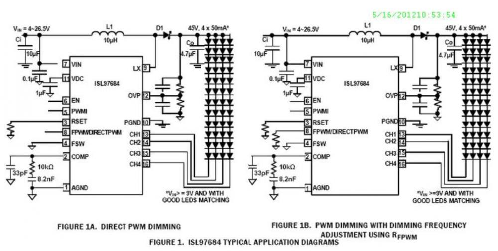 Intersil ISL97682 Series LED Lighting Drivers
