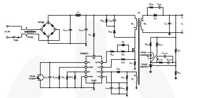 用於充電器應用的離線 DCM/CCM 反激式 PWM 控制器 FAN501
