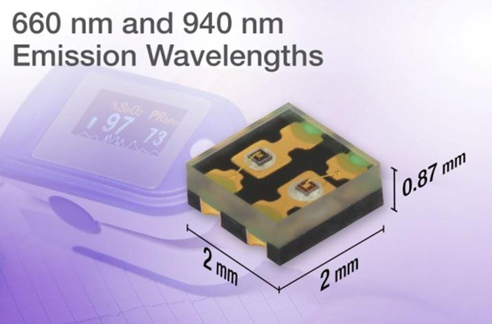 Vishay Dual Color Emitting Diodes, 660 nm and 940 nm VSMD66694