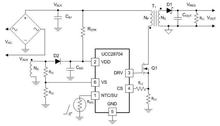 Off-Line Constant-Voltage Constant-Current Flyback Controller With Primary-Side Regulation (PSR) UCC28704