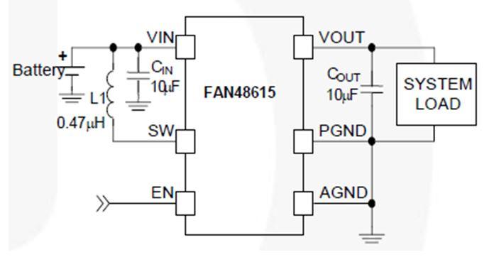 固定输出同步 TinyBoost®升压稳压器 FAN48615