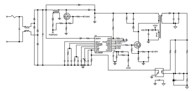 用于LED照明的PFC及准谐振反激组合控制器 NCL30030