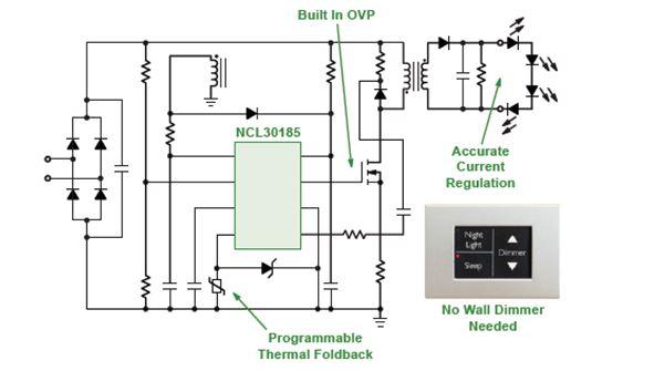 步進可調光准諧振(QR) PSR電流模式控制器用於LED照明 NCL30185