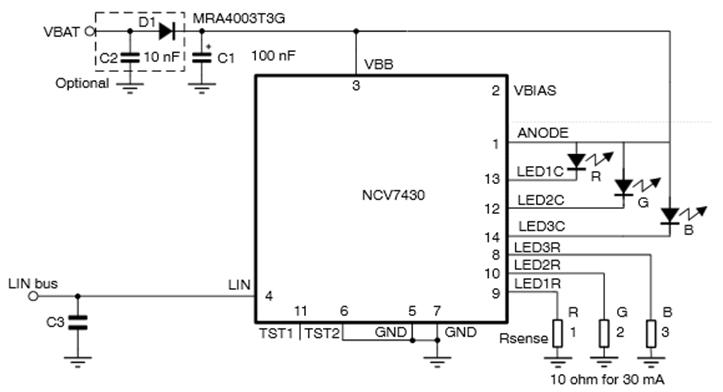 NCV7430 汽車級LIN RGB LED驅動器