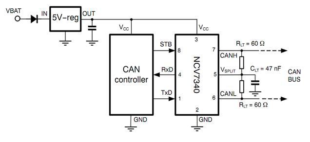NCV7340 高速低功耗CAN收發器