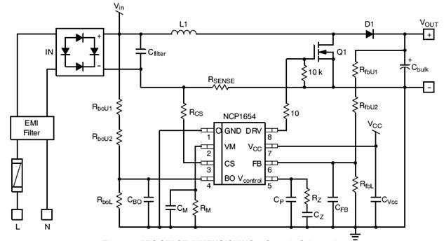 NCP1654 連續導電模式功率因數控制器