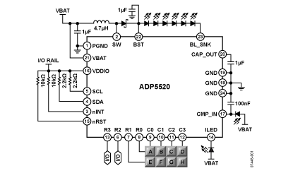 ADP5520: Backlight Driver with I/O Expander