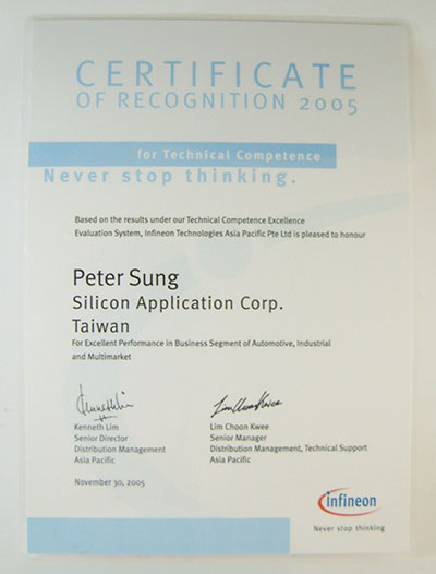 For Excellent Performance in Business Segment of Automotive , Industrial and Multimarket.-Peter Sung