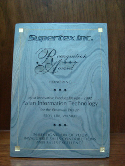 Most Innovative Product Design 2002