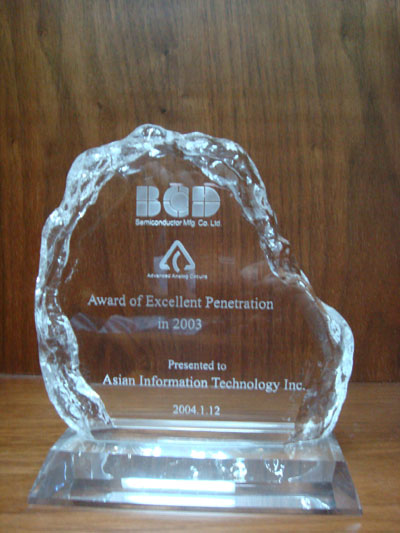 Award of Excellent Penetration in 2003