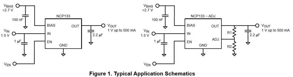 帶偏置軌的CMOS線性穩壓器 NCP133