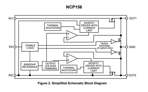 NCP156 用于相机模块的双LDO稳压器,500/250 mA,低Iq,极低压差,超低噪声