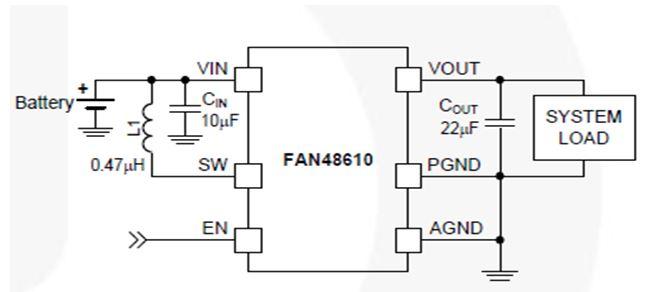 2.5 MHz、1 A、固定輸出同步 TinyBoost® 升壓穩壓器 FAN48610