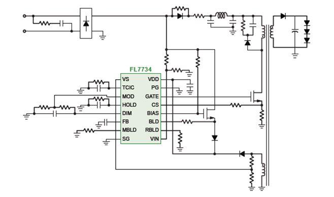 用於 PFC 和相切可調光 LED 驅動的單級初級端調節 PWM 控制器 FL7734