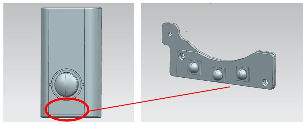 图一XX智慧门锁三维图,需散热之部位为外壳下LED器件