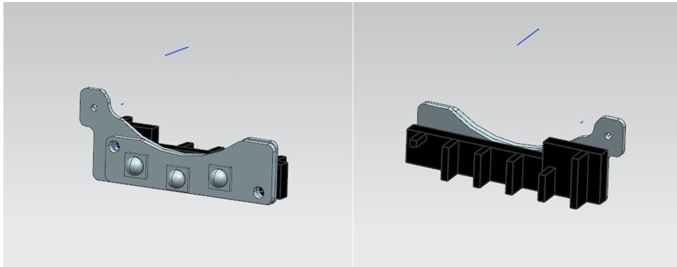 图二XX智慧门锁LED器件增加散热方案三维图,黑色散热器即为喷涂我司固态纳米碳散热器